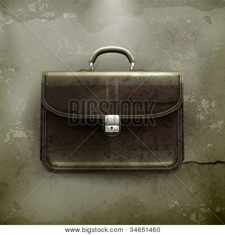 Brief case, old-style vector