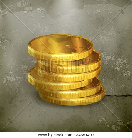 Stacks of gold coins, old-style vector