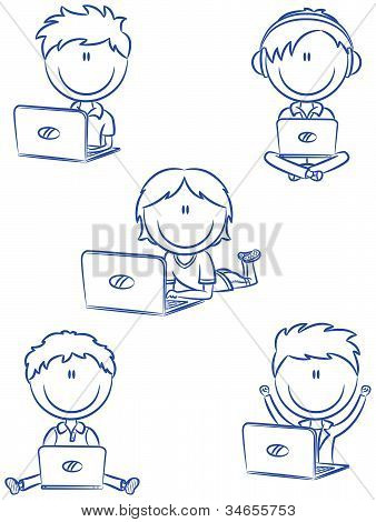 Cute Cheerful Boys With Laptops