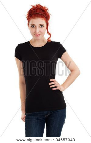 Redhead With Blank Black Shirt