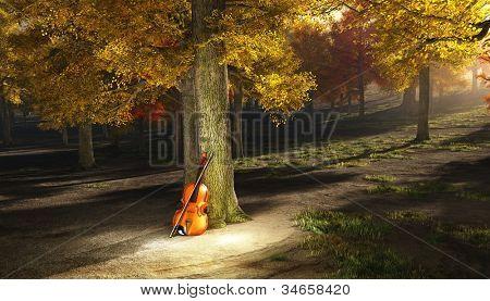 Violin in autumn park