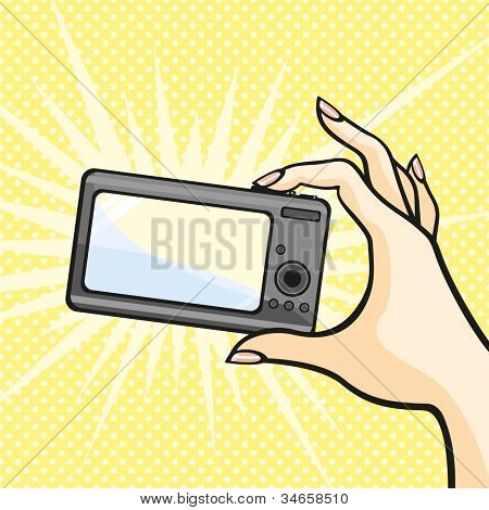 Illustration of a female hand holding a photo camera (raster version)
