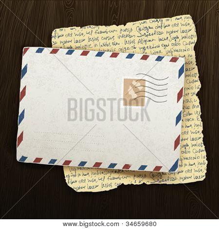 Vintage envelope and letter on wooden background. Vector illustration, EPS10