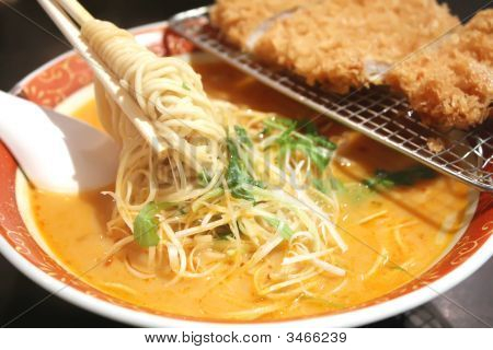 Ramen Noodles With Steaming Hot Soup