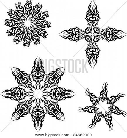 Tattoo Set cross, circular