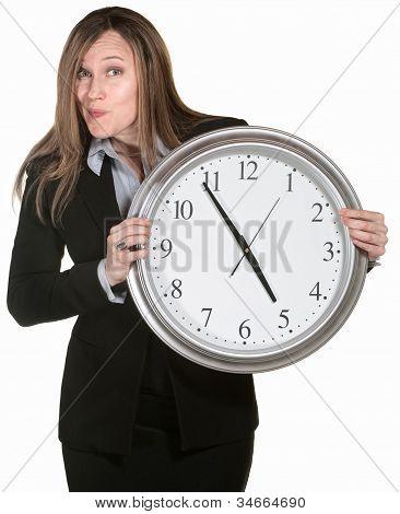 Businesswoman With Big Clock