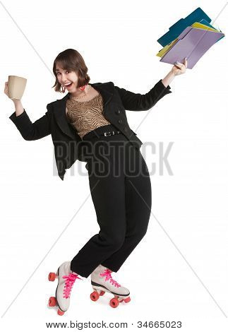 Office Worker In Skates