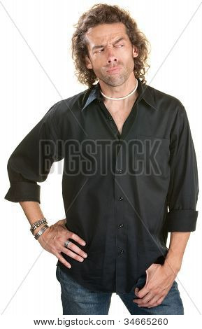Sneering Man In Black Shirt