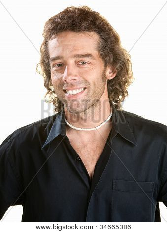 Smiling Man Over White