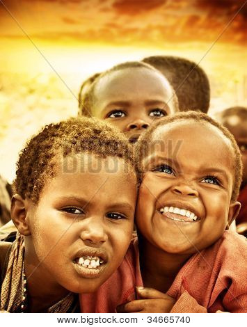 AFRICA, KENYA - NOV 8: Portrait of African children from the Masai Mara tribal village, near the Masai Mara National Park Reserve on November 8, 2008 in Kenya, Africa