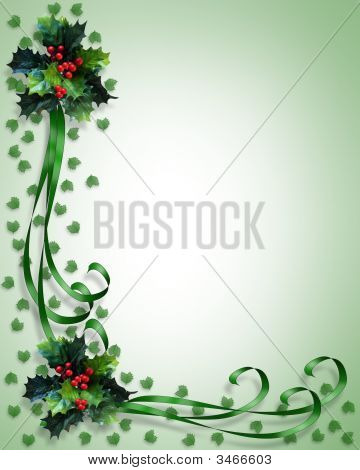Christmas Holly And Ribbons Corner Design