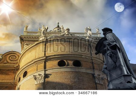 Concept architecture landscape of ancient building with statues where day and night meet
