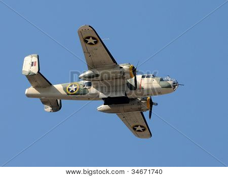 WW2 Era Bomber In Flight