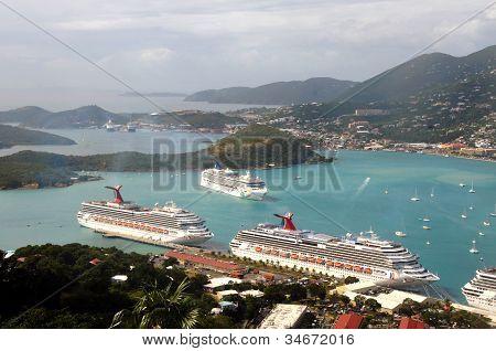 Aerial View Of Charlotte Amalie, Us Virgin Islands