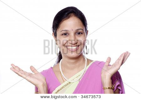 Cheerful Traditonal Indian Woman