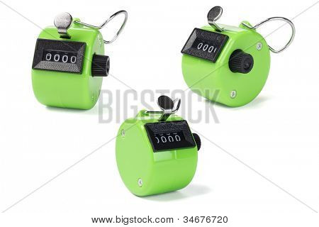 Three Tally Counters on White Background