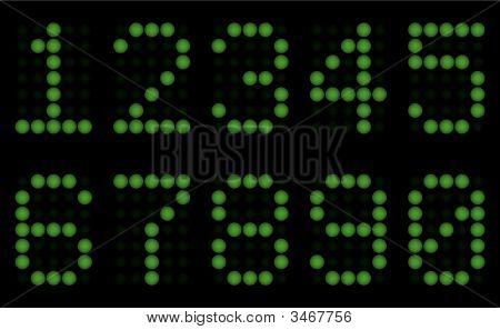 Green Digits For Matrix Display.
