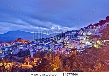 Sunset On Chefchaouen Blue Town At Morocco