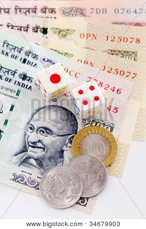 Dice In Indian Currency Notes