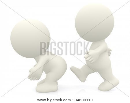 3D person kicking ass - isolated over a white background