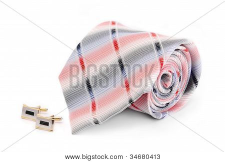 Man Cuff Links And Tie  Isolated