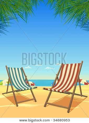 Summer Beach And Chairs Background