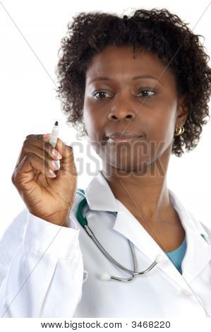African American Woman Doctor Writing