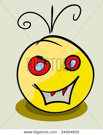 Vector Yellow Face Monster. Eps 8 Illustration