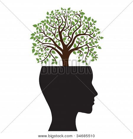 Tree silhouette of a man's head
