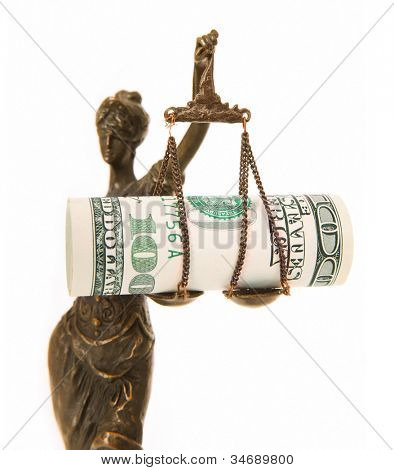 A picture of a Themis statue with dollar notes on the scale as a symbol of corruption over white background