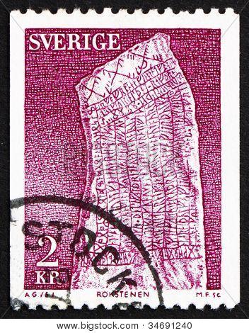 Postage stamp Sweden 1975 Rok Runestone, 9th Century