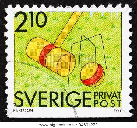 Postage stamp Sweden 1989 Croquet, Summer Sport