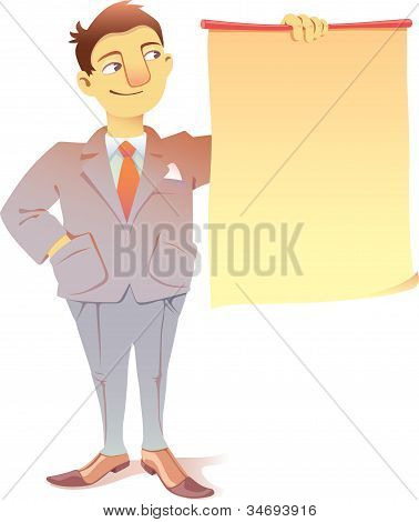 Businessman with a placard