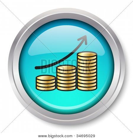 Vector Rising Gold Coins Icon Glossy Metallic Button. EPS10.