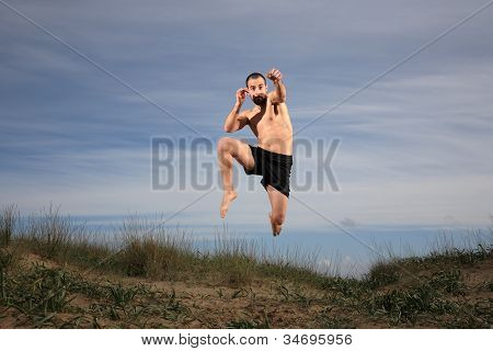 Young Fighter Exercising Outdoor