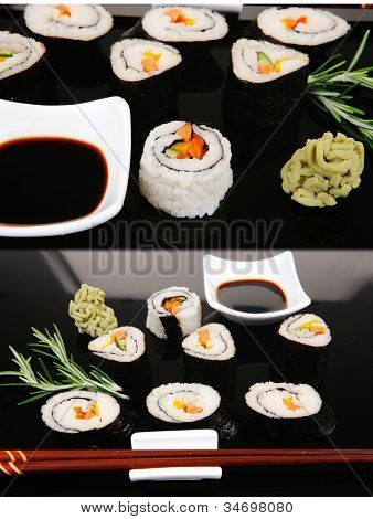 Sushi Maki Roll with Vegetables and Salmon inside . on black plate with soysauce and wasabi . Japanese Cuisine