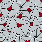 Seamless Pattern Of A Bunch Of Love Letters With A Heart Print.  Infinite Vector Ornament. Idea For  poster