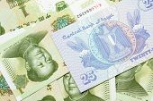 A Close Up Image Of An Egyptian Twenty Five Pisatres Note With Chinese One Yuan Bills In Macro poster