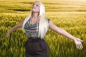 stock photo of hay fever  - A beautiful woman with a cold hay fever or allergies - JPG