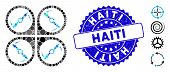 Mosaic Quadcopter Screws Rotation Icon And Grunge Stamp Watermark With Haiti Phrase. Mosaic Vector I poster