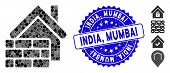 Collage Realty Brick Wall Icon And Rubber Stamp Seal With India, Mumbai Phrase. Mosaic Vector Is Des poster