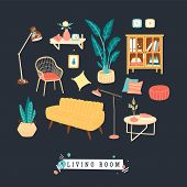 Bundle Of Cozy Furnitures Icons For Living, Lounge Rooms In Trendy Scandinavian Hygge Style. Flat Co poster