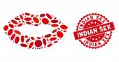 Mosaic Kiss Print Icon And Red Rubber Stamp Seal With Indian Sex Text. Mosaic Vector Is Created From poster