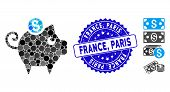 Mosaic Piggy Bank Icon And Distressed Stamp Seal With France, Paris Caption. Mosaic Vector Is Compos poster