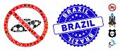 Mosaic No Ufo Icon And Rubber Stamp Seal With Brazil Text. Mosaic Vector Is Formed With No Ufo Icon  poster