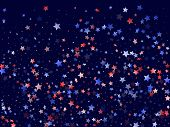 American Patriot Day Stars Background. Holiday Confetti In Us Flag Colors For Patriot Day.  Gradient poster
