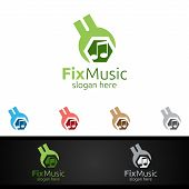 Fix Music Logo With Note And Fix Concept poster