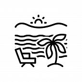 Black Line Icon For Beach Beach Seaside Seashore Offing Coastal-area Relaxation poster