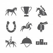 Horse Icons Set. Equestrian. Vector Signs For Web Graphics poster