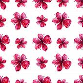 Flower Blossom Pattern, Japanese Plum Blossom, Watercolor Floral Seamless Background. Floral Decorat poster